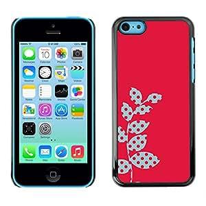 LASTONE PHONE CASE / Carcasa Funda Prima Delgada SLIM Casa Carcasa Funda Case Bandera Cover Armor Shell para Apple Iphone 5C / Cool Polka Dot Raster Pink Red Leaves