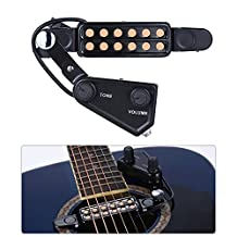 Andoer 12-hole Acoustic Guitar Sound Hole Pickup Magnetic Transducer with Tone Volume Controller Audio Cable