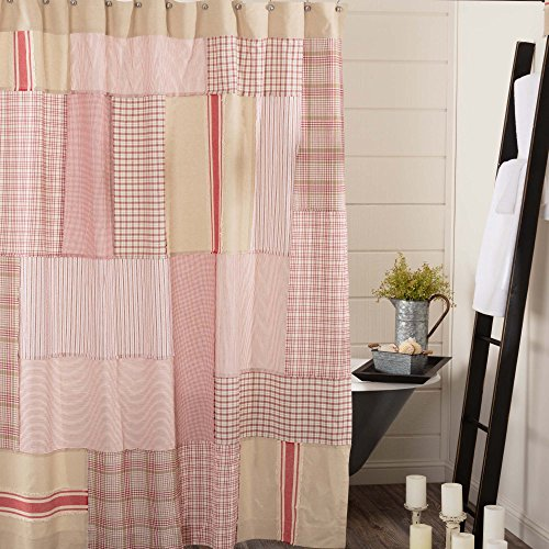 (Piper Classics Mill Creek Red Patchwork Shower Curtain, 72