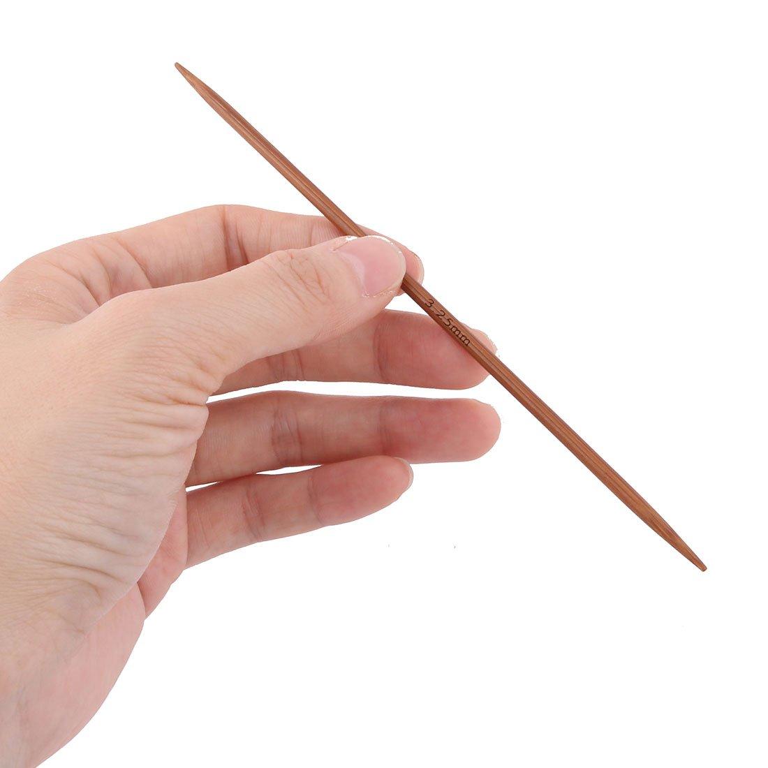 uxcell Bamboo Sewing Knitting Tatting Hat Socks Golves Needles 2.5mm Dia 4pcs Brown
