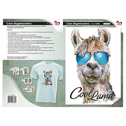 Cool Llama Fabric Motifs Decorate Color Iron-On Transfer A4/ Pictures Quick /& Easy Iron On DIY Fabric Design Like T-Shirts /& Bags with Hanger