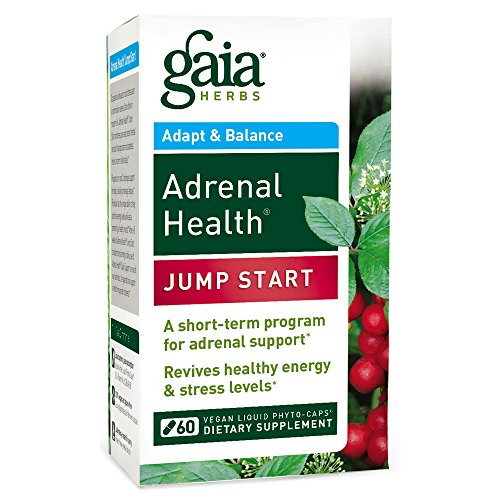 Gaia Herbs Adrenal Health Jump Start Vegan Liquid Phyto-Caps Herbal Supplement – Stress Support with Adaptogens (Rhodiola, Rhaponticum, Eleuthero, Cordyceps) for Healthy Mood and Energy, 60 count