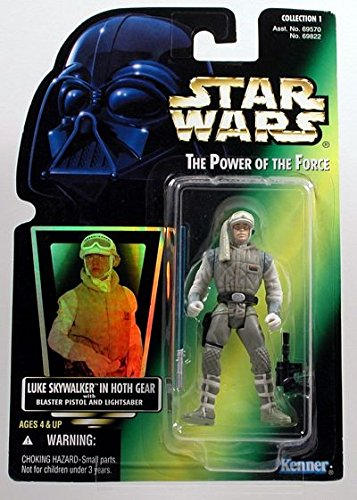 Star Wars, The Power of the Force Green Card, Luke Skywalker in Hoth Gear Action Figure, 3.75 Inches