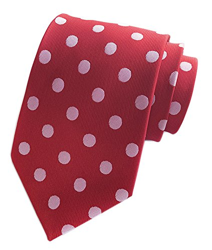 Secdtie Men's Red White Dot Silk Tie Cravat Woven Necktie for Wedding Dress Y008