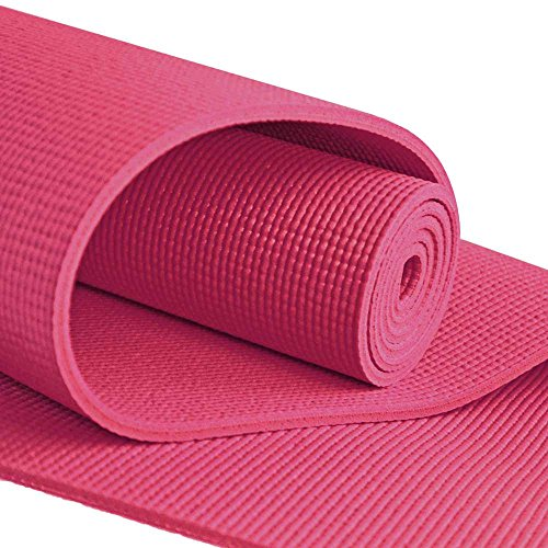 """Cheap YogaAccessories Extra Long 1/4"""" Deluxe Yoga Mat – Maroon"""