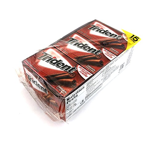 Cinnamon Chewing Gum - Trident Sugar Free Gum, Cinnamon, 14 Count (Pack of 15)