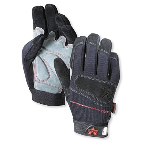Valeo Industrial V420 Mechanics Split-Leather Anti-Vibe Gloves with Padded Knuckles, VI4869, Pair, Black, XL ()