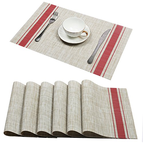 U'Artlines Set of 6 Placemats,Placemats for Dining Table,Heat-resistant Placemats, Stain Resistant Washable PVC Table Mats,Kitchen Table mats (Placemats 6pcs, A Red)