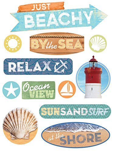 Paper House Productions STCP-0001E Chipboard Epoxy Sticker, Just Beachy (3-Pack) ()