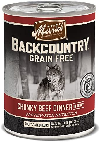 Merrick Backcountry Grain Free Wet Dog Food, 12.7 Oz, 12 Count Chunky Beef