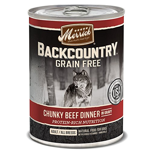 Merrick Backcountry Chunky Beef in Gravy Grain Free Wet Dog Food, Case of 12, 12.7 oz.