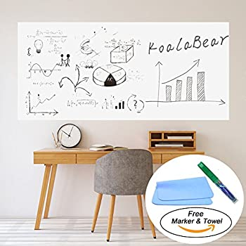 KoalaBear Brand Dry Erase Sticker Office Wall Decal Peel And Stick Sheets Whiteboard  Sticker Message Board 17u201dx 78u201d, With Free Marker And Towel (17u201dx 78u201d)