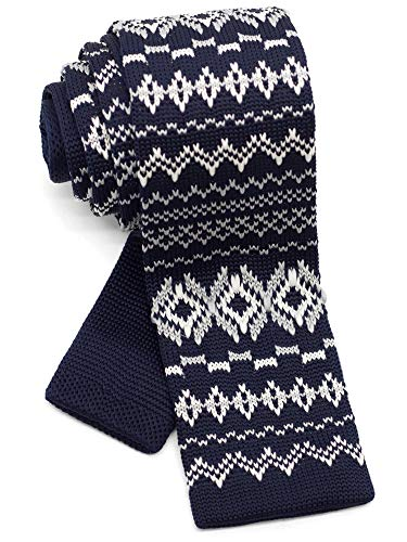 WANDM Men's Knit Tie Slim Skinny Square Necktie Width 2.2 inches Washable Nordic Pattern Navy Blue