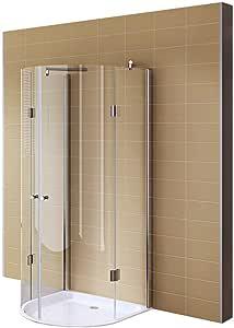 Redondo ducha, ducha cabina 85 x 85 x 190 cm de vidrio templado # 8402: Amazon.es: Bricolaje y herramientas