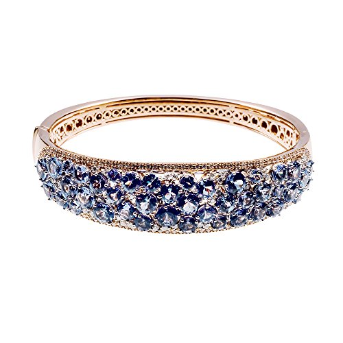 D'sire 18K Rose Gold Tanzanite Diamond Bangle Bracelet TDW 1.149 ()