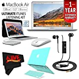 6Ave Apple 13.3 MacBook Air 128GB SSD #MQD32LL/A + iBenzer Basic Soft-Touch Series Plastic Hard Case & Keyboard Cover Apple MacBook Air 13-inch 13 (Turquoise) + Apple USB SuperDrive Bundle