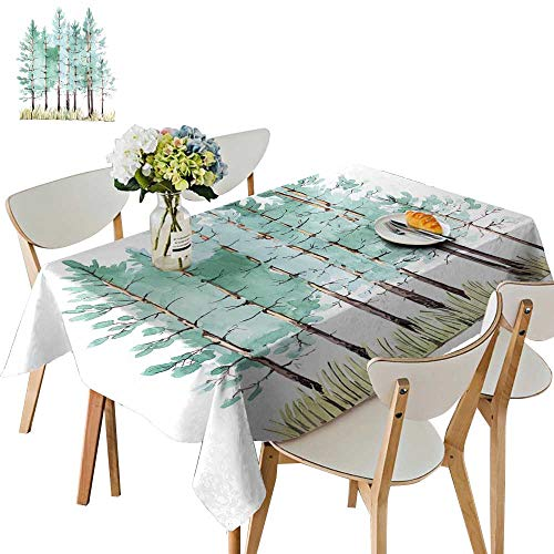(UHOO2018 Square/Rectangle Polyester Tablecloths Paint Young Pine Tree woo Fuitable for Home use,50 x102inch)