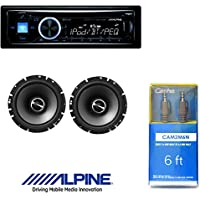 Alpine CDE-143BT Advanced Bluetooth CD Receiver W/ Alpine SPS-610 6.5-Inch 2-Way Type-S Series Coaxial Car Speakers And 6ft CAM2M6N Cable 1/8 Mini Stereo to Cable 1/8 Mini Stereo Cable