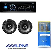 "Alpine CDE-143BT Advanced Bluetooth CD Receiver W/ Alpine SPS-610 6.5-Inch 2-Way Type-S Series Coaxial Car Speakers And 6ft CAM2M6N Cable 1/8"" Mini Stereo to Cable 1/8"" Mini Stereo Cable"