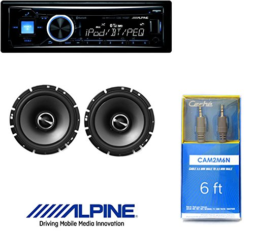 Alpine CDE-143BT Advanced Bluetooth CD Receiver W/ Alpine SPS-610 6.5-Inch 2-Way Type-S Series Coaxial Car Speakers And 6ft CAM2M6N Cable 1/8