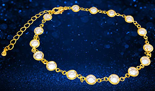 Lifestyle 18K Gold or Silver Plated Anklets for Women or Teen Girls - Beach Ankle Bracelets in Cute Boho Dainty Beaded or Swarovski Crystal Rhodium Foot Jewelry Anklet Chains