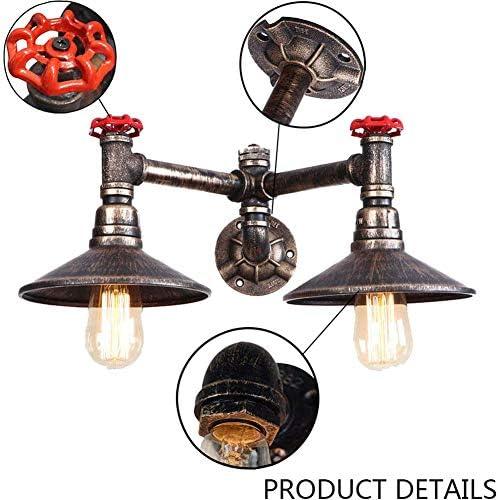 GZMUS Vintage Water Pipe Wandleuchte Steampunk Industrial Wandlampe 2 Flammig Metall Messing Lampenkörper Retro Loft Licht Für Schlafzimmer Wohnzimmer Bar Cafe E27