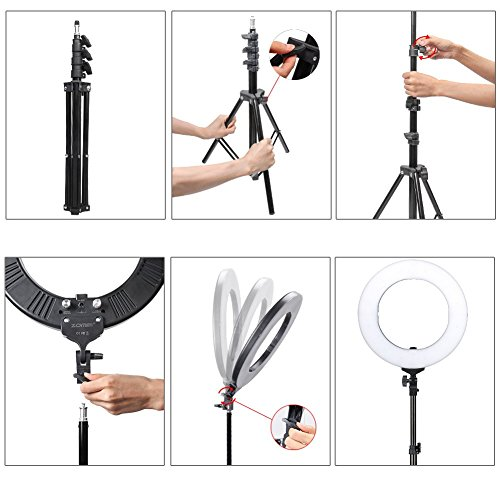 ZoMei Camera Photo Video Lighting Kit 14 inch Dimmable LED Ring Light with Stand & Color Temperature Hot Shoe for Portrait YouTube Video Shooting by TAIROAD (Image #2)
