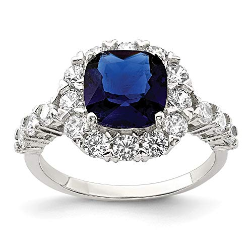 925 Sterling Silver Sapphire Glass Cubic Zirconia Cz Band Ring Size 6.00 Fine Jewelry Gifts For Women For Her
