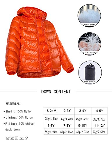 Spring&Gege Boys' Quilted Packable Hoodie Lightweight Puffer Jacket Windproof Outwear Children Warm Duck Down Coat for Boys and Girls Size 7-8 Years Pink by Spring&Gege (Image #4)