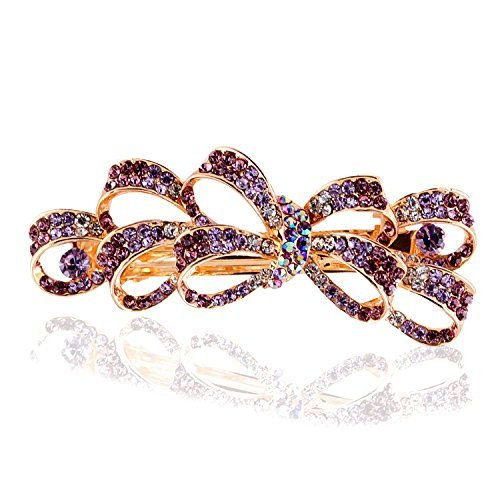 So Beauty Women's Multi Bowknot Shaped Rhinestone Hair Barrette Clip Accessary Purple