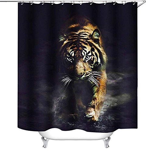 Crystal Emotion Wildlife Animal Nature Decor Tiger Bathroom Decor Polyester Fabric Shower Curtain, Plastic Shower Hooks Include - Crystal Tigers Plastic