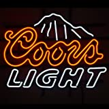 NEW COORS LIGHT MOUNTAINS BEER REAL GLASS NEON LIGHT BAR PUB SIGN19x15