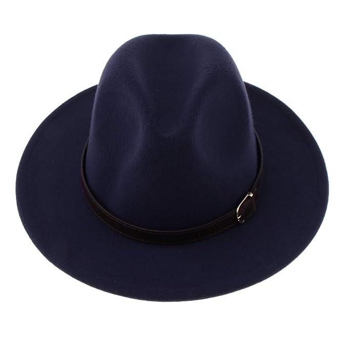 Baoblaze Sombrero Fedora de Lana con Cinta de Cuero Ala Ancha para Mujer  Hombre - Azul marino 56db32292a8
