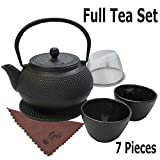 kettle iron - Traditional Japanese Tea Kettle Iron Teapot Gift Set Cast 7 Piece Teacup Set with Trivet Stand Tray and Stainless Steel Strainer Tea Pot with Infuser