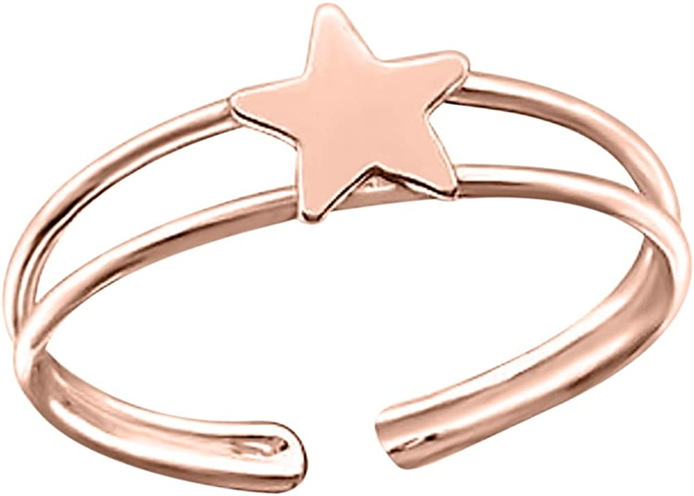 SVC-JEWELS Gorgeous Adjustable Star Toe Finger Ring 14k Rose Gold Plated Midi Ring