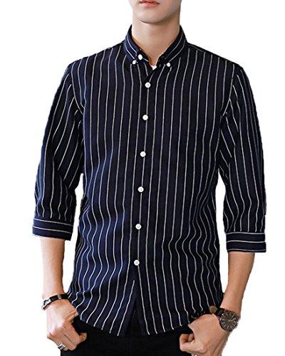 Dong xin 高品質 シャツ メンズ yシャツ メンズ ワイシャツ 細身 スリム 七分袖 メンズ シャツ ボタンアップ ストライプ シャツ カジュアル 春 夏 001
