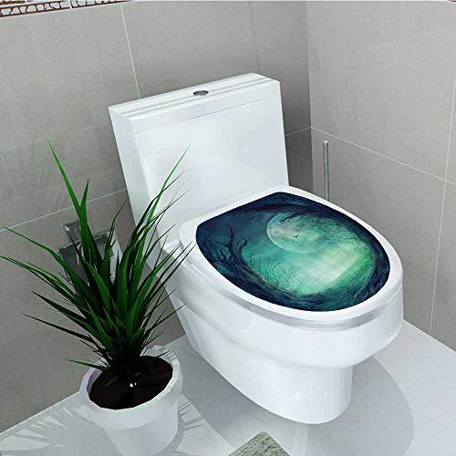 Printsonne Bathroom Toilet seat Sticker Decal eMisty Horror Autumn Valley Woods Spooky Tree Decal Sticker Vinyl W6 x L8