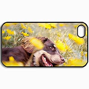 Fashion Unique Design Protective Cellphone Back Cover Case For iPhone 4 4S Case Dog Field Flowers Black by icecream design