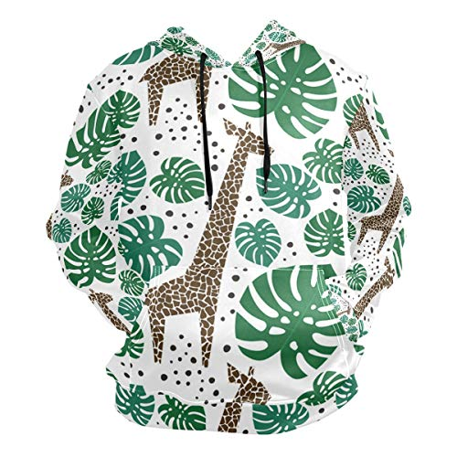 Giraffes Palm Leaves Dots Men's Hipster Hip Hop Classic Pullover Long Hoodie Sweatshirts Jacket
