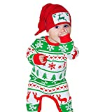 Clearance!!Christmas Cotton Blend Long Sleeve Deer Print Romper Clothes - Toddler Baby Boy Girl (Green, 6M)