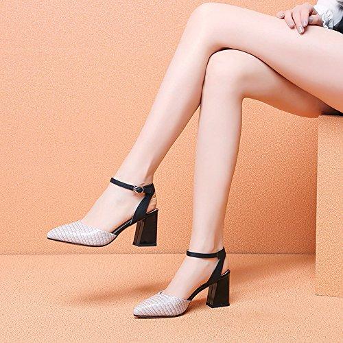Vivioo Vrouwen-sandalen Hakken Sandalen Met Hoge Hakken Schoen Zomerschoenen Ruw Hiel-sandaal-gesp-sandaal-vrouw-hoge Hakken Sandalen Baotou-m Wit
