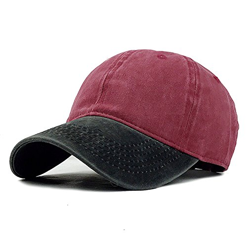 Miki Da 9 Mixed colors Washed Denim Snapback Hats Autumn Summer Men Women Baseball Cap Golf Sunblock Beisbol Casquette Hockey Caps Black Red Adjustable (Shelter Cloth Cap)