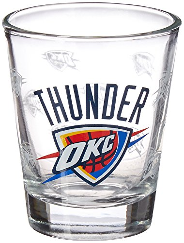 Thunder Satin (NBA Oklahoma City Thunder Satin Etch Shot Glass, 2-ounce, 2-Pack)