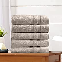 5-Pack 100% Cotton Bath Towel Set (28 x 52 inch) Multipurpose Spa Pool Gym Towel Set. Extra Absorbent. Emelia Collection By Great Bay Home Brand. (Silver Cloud)