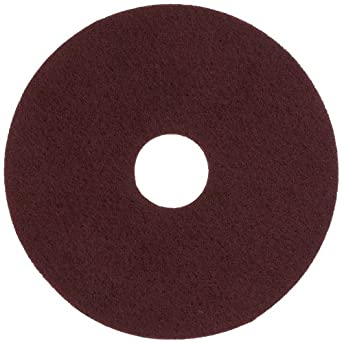 """Glit 11515 TN Polyester Blend Maroon Wood Surfacing Pad, Synthetic Blend Resin, Aluminum Oxide Grit, 15"""" Diameter, 175 to 350 rpm (Case of 10)"""