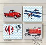 Muralmax -Chevron - Transportation Nursery Theme - Canvas - Trains - Planes Travel Collection - Set of 4 - Size - 8 x 10