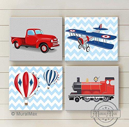 Muralmax -Chevron - Transportation Nursery Theme - Canvas - Trains - Planes Travel Collection - Set of 4 - Size - 8 x 10 by MuralMax