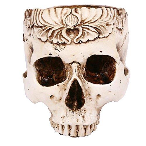 TX Halloween Resin Simulation Carved Skull Flower Pot Ashtray Hollow Skull Horror Tidy Creative Ornaments