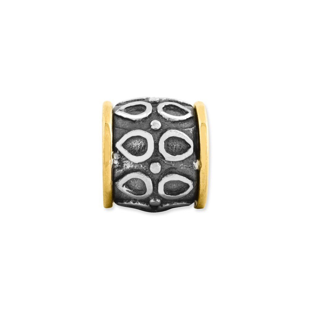 Sterling Silver and 14K Accent Reflection Barrel Bead