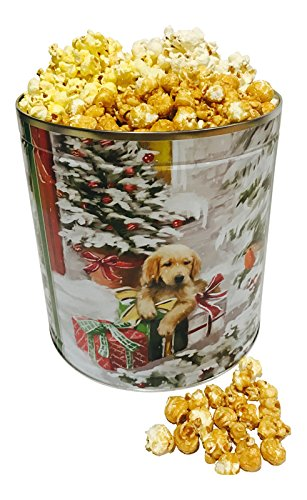 classic collectible gourmet holiday popcorn tin caramel white cheddar and butter popcorn